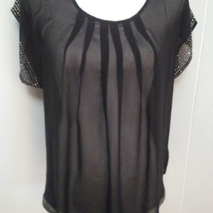 Sheer black studded tunic M